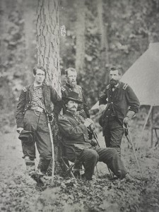 From left to right Generals Barlow, Hancock (seated), Birney, and Gibbon