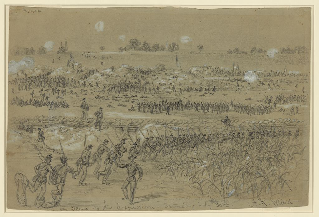 Alfred Waud's sketch of fighting near the explosion of July 30 (Library of Congress Digital Collection)